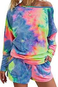 Minipeach Women's tie dye kit,Long Sleeve Tops tie dye pajamas set,lounge sets Shorts Pant PJ Set shirt Sleepwear
