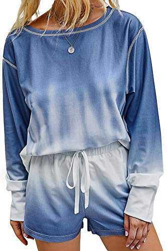 Minipeach Women's tie dye kit,Long Sleeve Tops tie dye pajamas set,lounge sets Shorts Pant PJ Set shirt Sleepwear