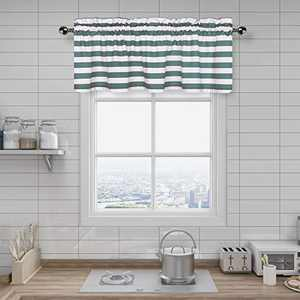 Amzdecor Green and White Stripe Café Window Valances Kitchen Curtain Drapes for Kitchen, Bathroom, Bedroom, Living Room, Rod Pocket, 55x15 inch