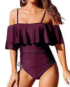 Aqua Eve Women Swimsuits One Piece Flounce Off The Shoulder Bathing Suits Tummy Control Strapless Swimwear Burgundy M