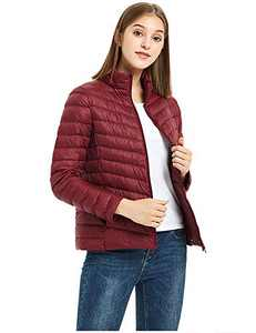 ilishop Women's Packable Short Down Jacket Lightweight Stand Collar Coat Outwear Puffer Winered 2XL