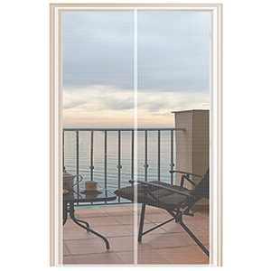 YUFER Magnetic Screen Door 36×82 Fiberglass Mesh Curtain Door Screen with Full Frame Hook&Loop - Fits Door Size 35x82 Inch Max,White
