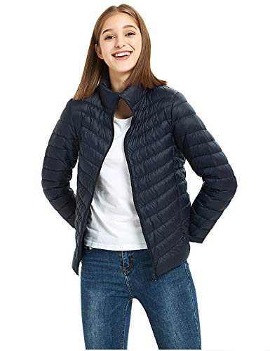 ilishop Women's Packable Short Down Jacket Lightweight Stand Collar Coat Outwear Puffer Navy 2XL