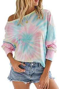Minipeach Women's Tie Dye Shirts,Pajamas Tshirt Pullover Tunic Tops Sweatshirt