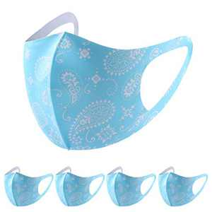 Tinani 5Pcs Face Bandanas for Adult, Washable Reusable Dustproof Anti-Spitting Protective Face Coverings for Cycling (Blue)