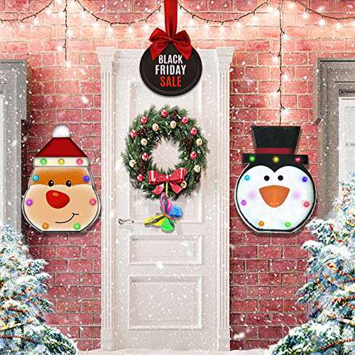 Christmas Wall & Door Decorations Snowman&Santa Indoor Hanging with Neon Lights, Christmas Ornaments Iron Craftmanship, Metal Handicraft Wall Decor Gifts 2 Pack 2 Pack with Butterfly