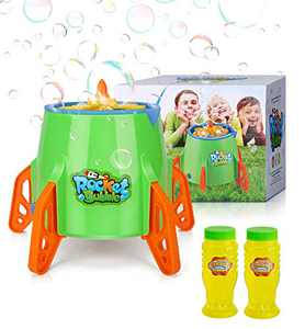 Vahome Bubble Machine for Kids, Rocket Bubble Blower 4000+ Bubbles for Toddlers Girls Boys Automatic Bubble Maker Toy for Outdoor Indoor Birthday Party, Bubble Solution Not Included.