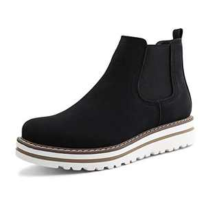 JABASIC Womens Chelsea Elastic Ankle Boots Waterproof Flat Boots (7,Black)