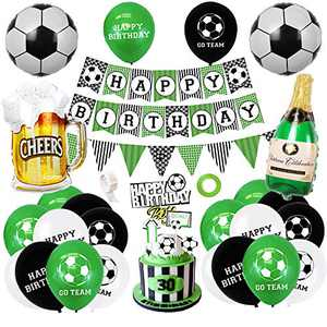 AYUQI Football Balloons Birthday Decorations Party Supplies, Happy Birthday Football Banner with GO Team DIY Cake Topper, Foil Football Theme Balloons for Kids, Boys, Football Fans Birthday Party