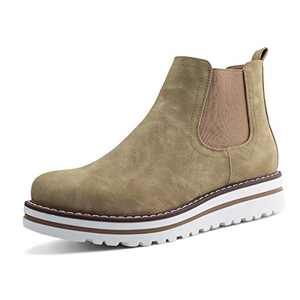 JABASIC Womens Chelsea Elastic Ankle Boots Waterproof Flat Boots (7,Tan)