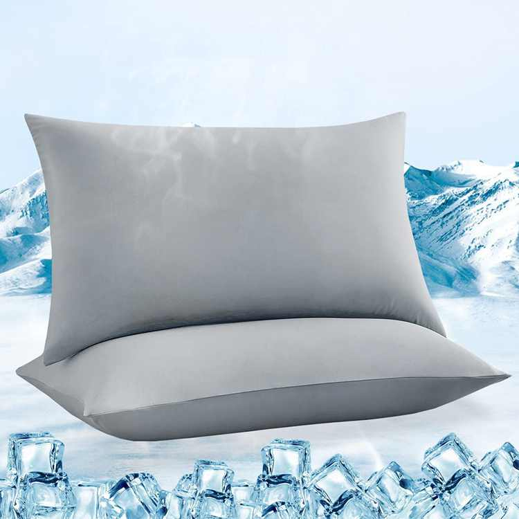 Luxear Cooling Pillow Cases 2 Packs, Silky Soft Q-Max>0.5 Pillowcase Standard Arc-Chill Anti-Static For Hair Skin Stretch Cool Pillow Covers With High Elasticity Standard Size, Grey