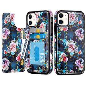 CHEERINGARY Compatible with iPhone 12 Case Wallet with Card Holder Leather Case for Girls Women Card Slots Cover Protective Shockpoof Case Compatible with iPhone 12 iPhone 12 Pro 6.1 inches Peony