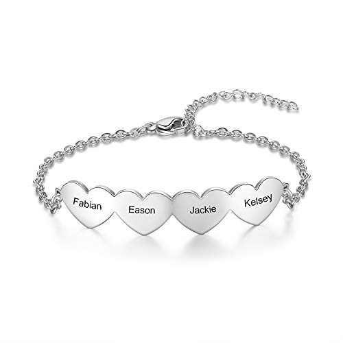 kaululu Personalized Name Bracelets for Women 4 Hearts Bracelet Women's Link Bracelets with Name Adjustable Girls' Bracelets Custom Engraved Bracelets for Mother Wife BFF Christmas Birthday Gift