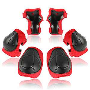 Knee Pads for Kids Toddler Knee Pads and Elbow Pads Set with Wrist Guards 3 in 1,Children Protective Gear Set for Skating Riding Cycling Biking Rollerblading Scooter(3-8 Years),Red
