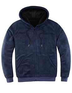 ZENTHACE Mens Sherpa Lined Full Zip Up Hoodies for Men Sweatshirt Jacket(Sherpa Lining Throughout) Navy S