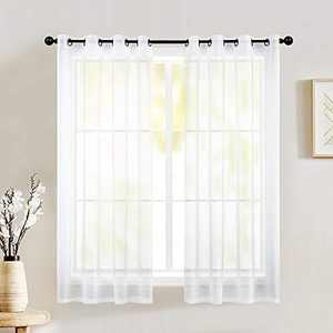 Natiroom 2 Piece Small Semi White Sheer Curtains Voile See Through Window Curtain Grommet Panels for Kitchen, Bathroom & Short Windows - White - 52 W x 45 Inch Long