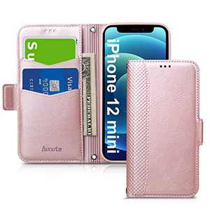 Aunote Wallet Case for iPhone 12 Mini 5G, Wallet Case with TPU Shockproof Inner Case, PU Leather Credit Card Holder Magnet Stand Flip Cover Compatible with iPhone 12 Mini 5.4 inch, Rose Gold