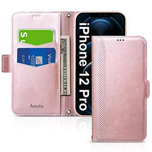 Aunote iPhone 12 Pro Case, iPhone 12 Pro 5G Phone Case, Slim Flip/Folio Cover – Wallet Style: Made of PU Leather Shell (Lightweight, Feels Good) and TPU Inner - Full Protection. Rose Gold