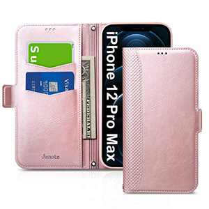 Aunote iPhone 12 Pro Max Case, iPhone 12 Pro Max 5G Phone Case, Slim Flip/Folio Cover – Wallet Style: Made of PU Leather Shell (Lightweight, Feels Good) and TPU Inner - Full Protection. Rose Gold