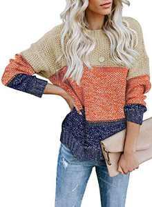 Zecilbo Womens Color Block Crewneck Sweaters Women Color Block Fashion Jumpers Tops Brown, Medium