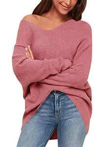 Boncasa Womens Deep V Neck Wrap Sweaters Long Sleeve Off Shoulder Knit Pullover Tops Shirts Red 2BC39-hongse-L