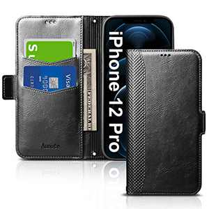 Aunote iPhone 12 Pro 5G Phone Case, iPhone 12 Pro Case, Slim Flip/Folio Cover – Wallet Style: Made of PU Leather Shell (Lightweight, Feels Good) and TPU Inner - Full Protection. Black