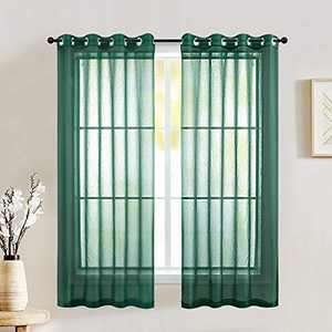 Hunter Green 2 Piece Small Semi White Sheer Curtains Voile See Through Window Curtain Grommet Panels for Kitchen, Bathroom & Short Windows - 52 W x 54 Inch Long