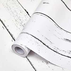SUNBABY White Wood Wallpaper Peel and Stick Wallpaper Self-Adhesive Removable Wallpaper White Wall Decor for Home Refurbish Decoration (17.71'' X 118.11'')