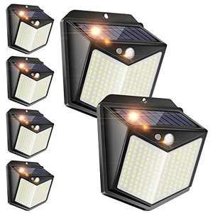 6 Pack Solar Lights Outdoor, 140 LED Solar Motion Sensor Security Lights with Wireless IP 65 Waterproof, 1000 Lumen Solar Powered Lights for Deck Garden Step Porch Yard Patio Garage Fence