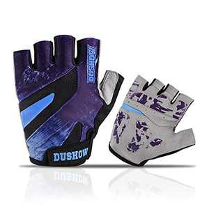 DuShow Men Cycling Gloves Half Finger Purple Gel Padded Biking Gloves Anti-Slip Shock-Absorbing Bike Gloves Fingerless(Purple,S)