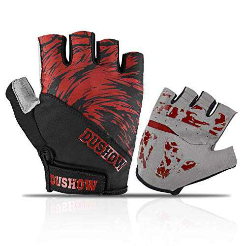 DuShow Men Cycling Gloves Half Finger Red Gel Padded Biking Gloves Anti-Slip Shock-Absorbing Bike Gloves Fingerless(Red,XL)