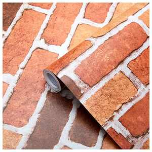SUNBABY Red Brick Wallpaper Peel and Stick Removable Wallpaper Self-Adhesive Wall Wallpaper Decor for Bedroom Home Table Cabinet Shelf Drawer Refurbish Decoration (17.71'' X 118.11'')