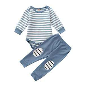 Baby Boy Girls Striped Pajamas Outfit Romper Top Pant Long Sleeve Sleepwear Set Blue