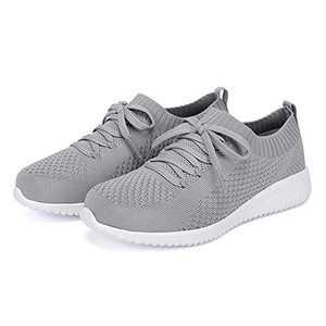 Breifola Women's Slip-On Walking Shoes Running Tennis Mesh-Comfortable Lightweight Sneakers 004-3-6 Grey