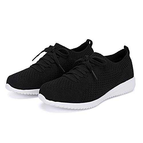 Breifola Women's Slip-On Walking Shoes Running Tennis Mesh-Comfortable Lightweight Sneakers 004-1-8.5 Black