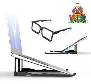 Laptop Stand, 8AM Laptop Desk Portable Computer Stand Aluminum Computer Riser Notebook Holder for Desk Reading Lap Desks Compatible with 10-15.6 Inches MacBook Laptops (Black)
