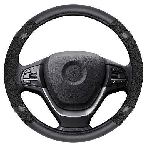 Elantrip Steering Wheel Cover Leather Sponge Splicing 14 1/2 to 15 inch Anti Slip Odorless for Car .Black