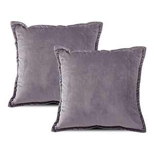 EIUE Soft Velvet Throw Pillows,Set of 2 Home Decor Decorations Square Couch Cushion with Polyester Stuffing for Sofa Bed Chair Office and Travel Car (Lavender, 18 x 18)