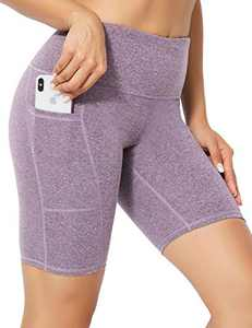 High Waist Tummy Control Workout Biker Running Yoga Shorts with Pockets for Women(Hemp Purple,X-Large)