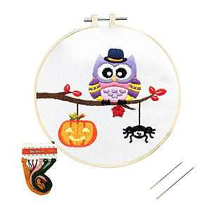Louise Maelys Embroidery Kit for Beginner Halloween Owl Pumpkin Spider Pattern Cross Stitch DIY Adult Crafts Kits