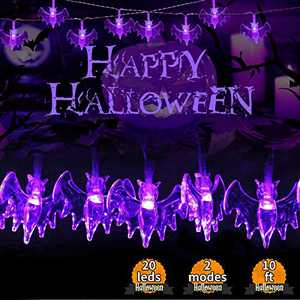Halloween String Lights, 2 Modes&Battery Powered Bat Light, Halloween Decorative Lights with IP65-Waterproof Features are Perfect for Decorating Outdoor or Indoor Halloween Atmosphere