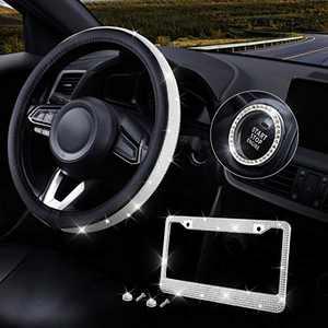 Elantrip Crystal Diamond Steering Wheel Cover 14 1/2 to 15 Inch Anti Slip Shiny Rhinestones Steering Wheel Cover Bling Bling Car Wheel Protector (White Diamond)