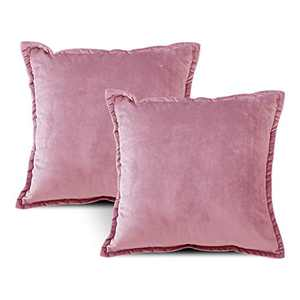 EIUE Soft Velvet Throw Pillows,Set of 2 Home Decor Decorations Square Couch Cushion with Polyester Stuffing for Sofa Bed Chair Office and Travel Car (HotPink, 18 x 18)