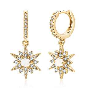Starburst Huggie Hoop Earrings, S925 Sterling Silver Post CZ Star Opal Dangle Hoop Earrings, 14K Gold Plated Dainty Cubic Zirconia Hoop Earrings Dangling Huggie Star Earrings for Women