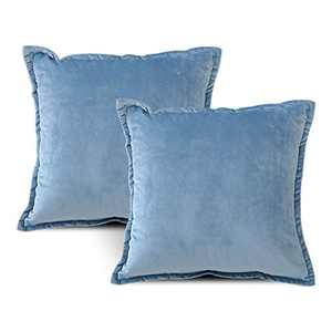 EIUE Soft Velvet Throw Pillows,Set of 2 Home Decor Decorations Square Couch Cushion with Polyester Stuffing for Sofa Bed Chair Office and Travel Car (Blue, 20 x 20)