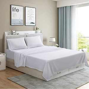 MOONCAST 4 Pieces King Bed Sheet-Extra Soft and Hotel Luxury Feeling-Durable Machine Washable Microfiber-White Bed Sheet Set(King,White)