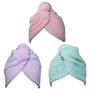 Hair Towel Wrap Turban 3 Pack Super Absorbent Microfiber Quick Dry Hair Towel with Button, Dry Hair Hat, Wrapped Bath Cap 26inch/10inch Green/Pink/Purple
