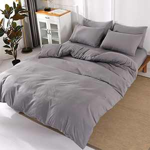 ViViTOP Grey Microfiber Duvet Cover Set 3 Pieces King Modern Bedding Sets with 2 Pillowcases Soft Simple Style