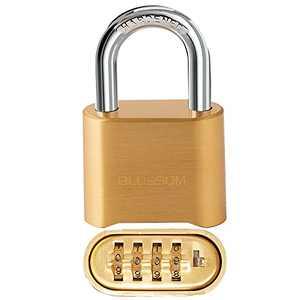 BLOSSOM Combination Lock Heavy Duty 4 Digit, Keyless, High Strength Brass Lock Bodies, Bottom Resettable Combination Outdoor Waterproof Solid Wide Body Padlock 2.07x0.99x3.26 in, 1 Pack