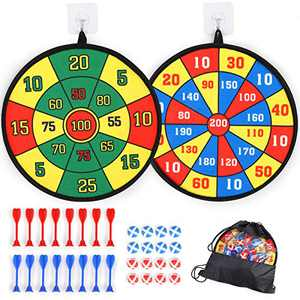 Qutasivary 2Pack Dartboards for Kids w/c 16 Sticky Balls&16 Darts, 13 inches Darts Board Set w/c Hooks, for Boys and Girls Ages 3+ Indoor Games